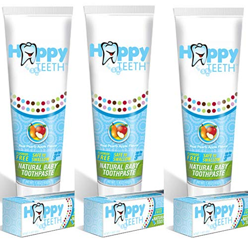 Happy Teeth Natural Baby and Toddler Toothpaste, Fluoride Free and Sulfate Free, Pear Apple Flavor, No Preservatives, Safe to Swallow, Clean Baby Toothpaste for Ages 3 and Under