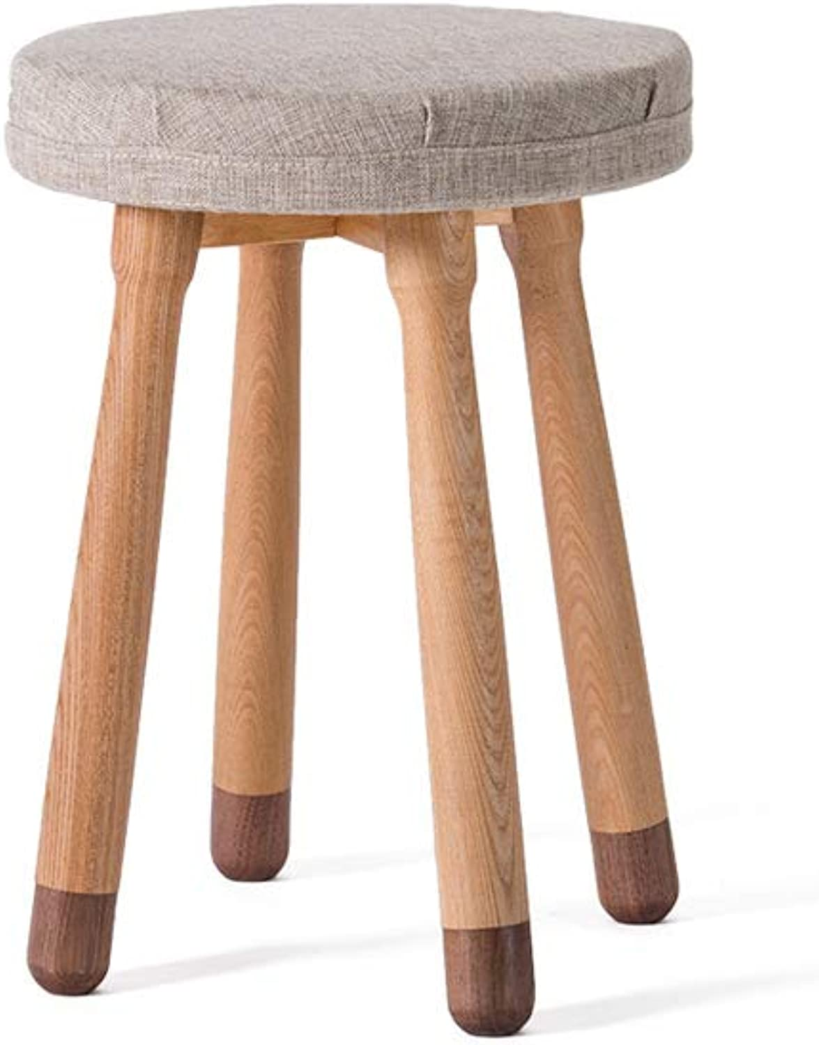 Solid Wood Round Stool Home High Stool Living Room Creative Dining Stool (color   D)