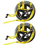 2X Car Basket Straps Adjustable Tow Dolly DEMCO Wheel Net Set Flat Hook Standard Wheels Fits (17-21 Inches, Yellow)