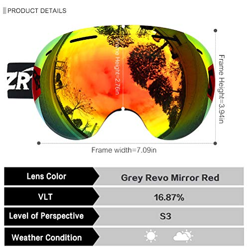 ZIONOR X5 Ski Snowboard Snow Goggles for Men Women Anti-Fog UV Protection Spherical Dual Lens Design (VLT 16.87% Red Frame Revo Red Lens)