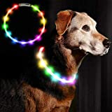Ewolee Light Up Dog Collar, LED Dog Collar USB Rechargeable, 2 Light Modes Adjustable Size Flashing Dog Collar Improves Pet Visibility & Safety Fits For Small Medium Large Dogs Cats(Multicolor)