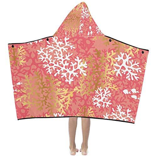 Manta con capucha para niños Hermosa coral naranja en el mar Manta...