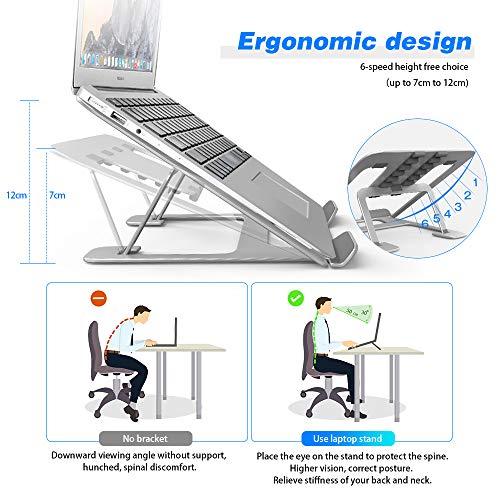 TOPACE Laptop Ständer, Höhenverstellbar Notebook Computer Ständer Tragbarer Faltbar Aluminium Laptop Stand Halterung Kompatibel mit Alle Laptops Tablet, MacBook Pro, Lenovo, Samsung, HP, Dell(Silber)