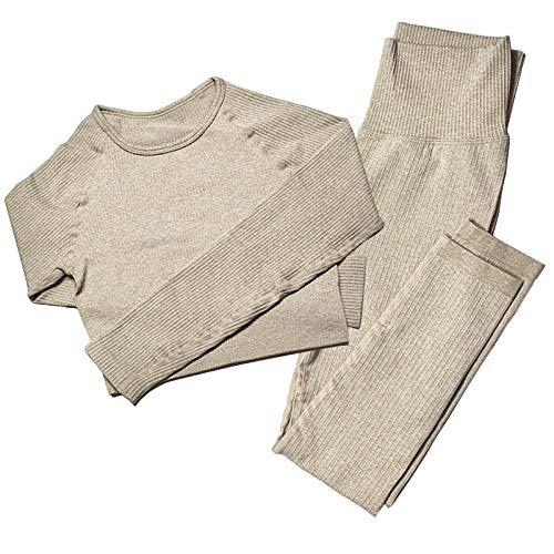 Mayround Nahtloser Frauen Yoga Anzug 2 Teilig Gerippt | Langärmliges Oberteil und Hohe Taille Leggings Gym Kleidung Set | Sportswear-Set für Damen (Khaki, M)
