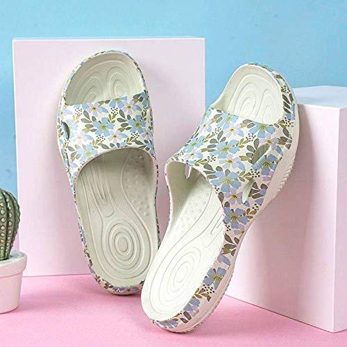 HUSHUI Chanclas Zapatos de Playa y Piscina,Beach Floral Antideslizante, Zapatillas de baño para el hogar-Beige_40-41,Mujer Verano Baño Antideslizante Chanclas