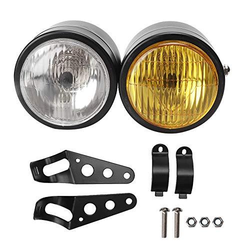 Dubbele koplamp, universele motorfiets 8.5in ijzeren voorkant Dubbele dubbele ronde koplamp Lamp Motorfiets Dubbele koplamp universeel voor de meeste voertuigen(Zwart rooster + wit)