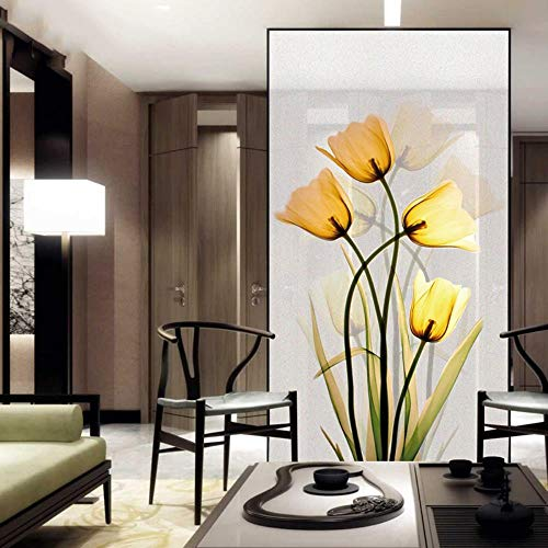 Custom Size Electrostatic Window Film Tulip Pattern Decorative Privacy Protection Frosted Glass Sticker for Window Door Cabinet