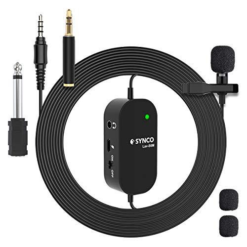 SYNCO Lavalier Mikrofon mit Audioüberwachung, Omnidirectional Kondensator Clip-on Mic, Ansteckmikrofon 3,5mm-6,3mm TRRS-TRS für PC Smartphone iPhone Huawei Samsung, Kamera DSLR Camcorder Lav-S6M