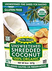 Let's Do Organic Shredded, Unsweetened Coconut, 8-Ounce Packages (Pack of 12) : Coconut Flakes