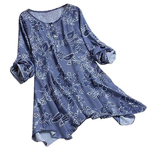 HWTOP T-Shirt Damen Weinlese Oberteile Sommer Blumendruck Tops Unregelmäßig Tshirt Langarm Bluse