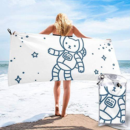 Ute Cartoon Astronaut Pioneer Kat Vliegen in Buitenruimte Doodle Stijl Constellatie Strandbad Handdoek Snelle Drogen Absorberende Handdoeken voor Camping, Rugzakken, Gym, Sport en Zwemmen 160 X 80 CM