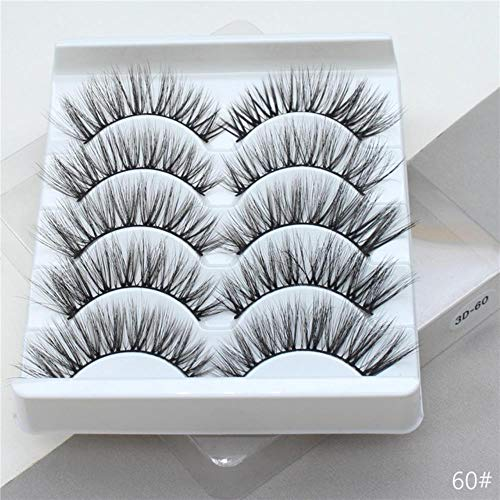 KADIS 5Pairs 3D False Eyelashes Extension Natural Thick Long Fake Eye Lashes Wispy Women Makeup Beauty Tools,60