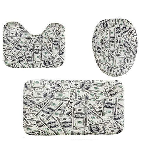 KEAINIDENI Toiletmat 3 Stks Badmat Badkamer Tapijt 3D Dollar Patroon Koraal Fluweel Print Wasbaar Toiletbril Toiletmat Badkamermat Set A