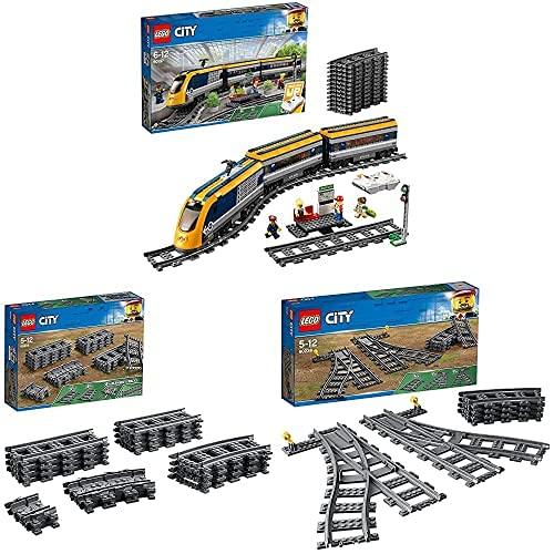 LEGO60197CityTrainsTrendepasajeros,SetdeConstrucciónconMotoraControlRemotoporBluetoothconMiniFiguras + 60205CityVíasJuguetedeConstrucción + 60238CityCambiosdeAgujas