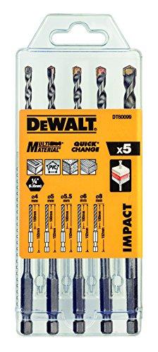 Dewalt DT60099-QZ DT60099-QZ-Juego de 5 brocas multi-material Impact 4, 5, 5.5, 6, 8 mm, 0 W, 0 V, Plata, One size