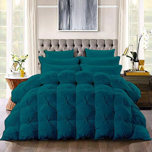 Luxury 3-Pcs Pinch Pleated Pintuck Comforter Set 100% Cotton 500 GSM Ultra-Soft,Beautiful Pinch Pleat Fill Box Stitched with 4 Corner tabs Design,Light Weight Comforter(Cal-King/King-Teal)