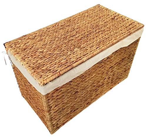 KMH® Charly, 3fach Wäschesortierer aus geflochtener Wasserhyazinthe, 82×42,5×52,5cm - 2