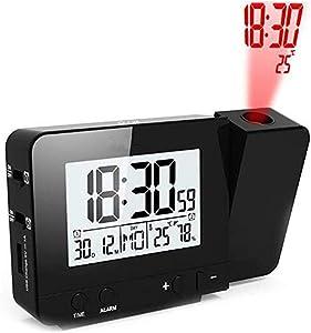 TYX Crossdresser Horloge de Projection avec l'alarme de Projection de température de Temps LED Horloge d'alarme d'écran de Charge USB Noir