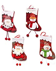 Dusenly - Paquete de 4 calcetines de Navidad grandes para decorar la chimenea, calcetines con detalles de tartán para el árbol de Navidad, adornos para colgar