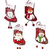 Dusenly - Calcetín de Navidad (4 Unidades, tamaño Grande)