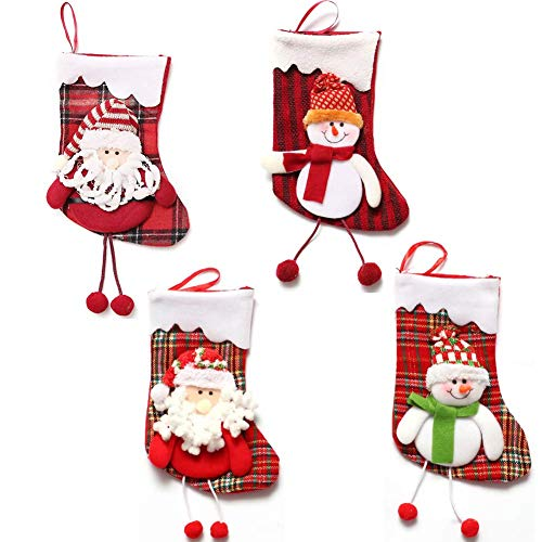 Dusenly Lot de 4 Grandes Chaussettes de Noël pour décoration de cheminée Motif Tartan