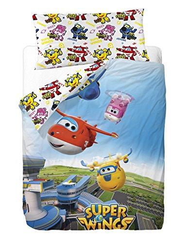 Super Wings Lot de 3 Housses de Couette en Coton et Polyester Multicolore 200 x 90 x 25 cm
