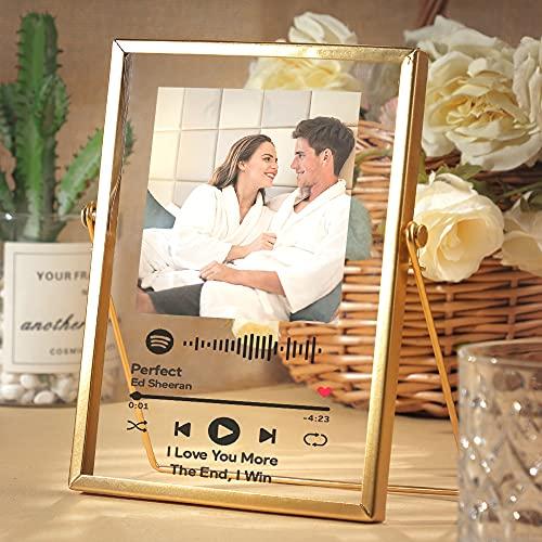 Marco de Fotos Placa Spotify Foto Personalizada   CristalSpotifyCancion Personalizada   Portafotos Arte de Vidrio Metacrilato Tablero Musical Personalizado  RegalosPersonalizadospara Novio Novia