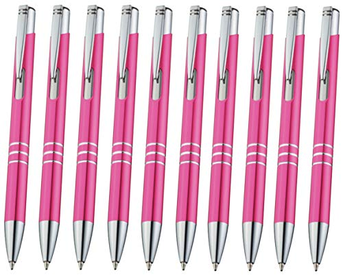 Libetui 10er Pack Kugelschreiber aus Metall Metallkugelschreiber Druckkugelschreiber, auswechselbare Großraum-Mine, Mine Blau Gehäuse Pink