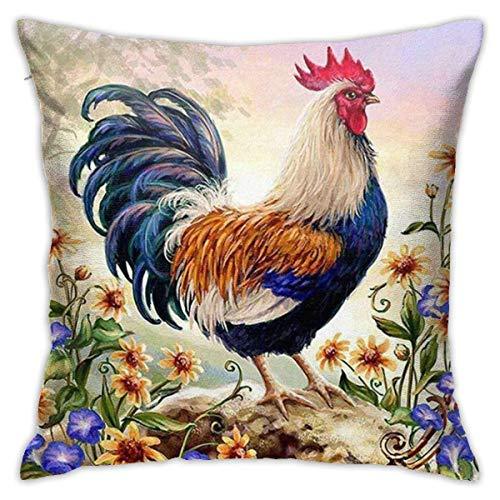 YUNYANG Funda de almohada de felpa de gallo dibujada a mano, romántica sala de estar, dormitorio, 45,7 x 45,7 cm