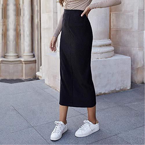 LJLLINGA Falda Midi de Punto Negra para Mujer,Ropa de Otoño Invierno deCintura Alta,Faldas largas y Rectas Elegantes Vintagepara Mujer