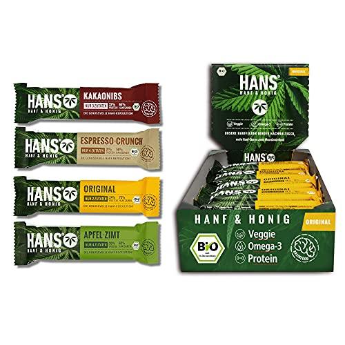 HANS® Energieriegel Original mit Hanf & Honig 18x30g Box | Natural Protein Fitnessriegel| Magnesium Powerriegel extra für Sport, Radsport, Power & Energy