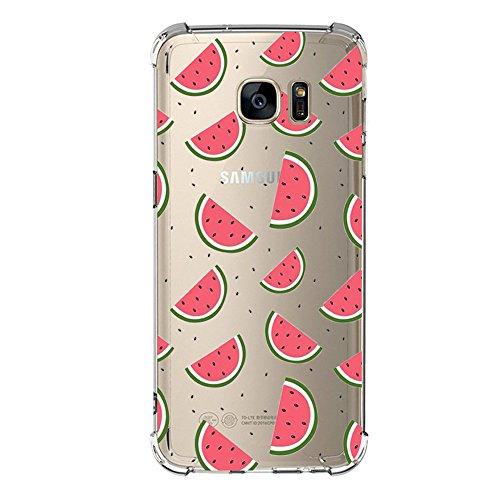 Funda Compatibles con Samsung Galaxy S6 S7 Carcasa Silicona Transparente Protector TPU Airbag Anti-Choque Ultra-Delgado Anti-arañazos Sandía Caso para Galaxy Case Caja (Galaxy S6, sandía)