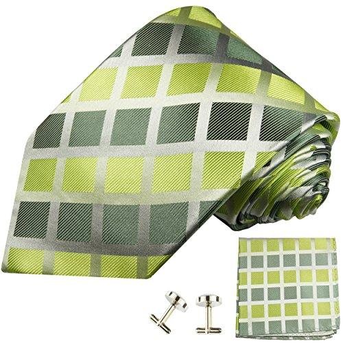 Cravate vert á carreaux ensemble de cravate 3 Pièces ( 100% Soie Cravate + Mouchoir + Boutons de manchette )