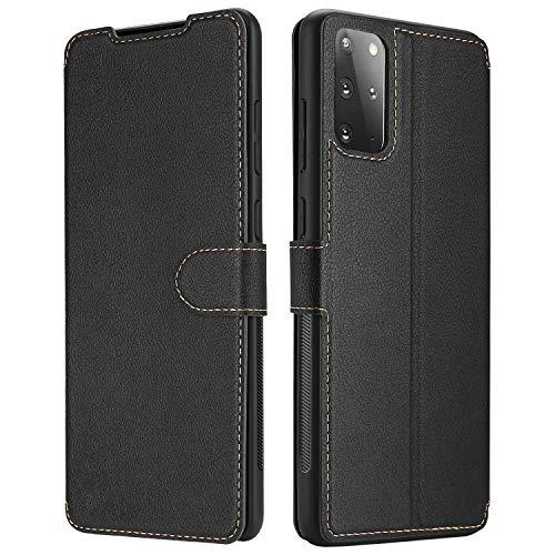 ELESNOW Hülle für Samsung Galaxy S20 Plus, Leder Klappbar Bookstyle Wallet Schutzhülle Tasche Handyhülle mit [Magnetisch, Kartenfach, Standfunktion] für Samsung Galaxy S20 Plus (Schwarz)