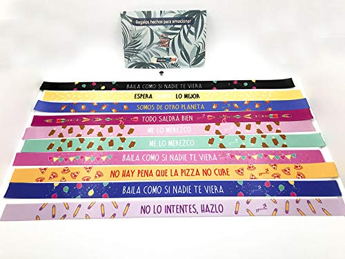 Tarja 73 - Pulsera de Tela con Mensaje: PRESUME Y PUNTO - Pulsera con Frase - Pack de 10 - Regalo Creativo e Ideal