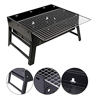 iMeshbean Barbecue Charcoal Grill Stainless Steel Folding Portable BBQ Tool Kits for Outdoor Cooking Camping Hiking Picnic Patio Family Party