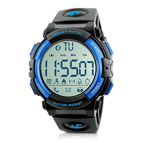 Beeasy Reloj Deportivo Hombre,Relojes Digital Impermeable Watches Inteligente Bluetooth Fitness Tracker Contador Calorías Podómetro Cámara Remota App Notificación de Llamadas SMS,Azul