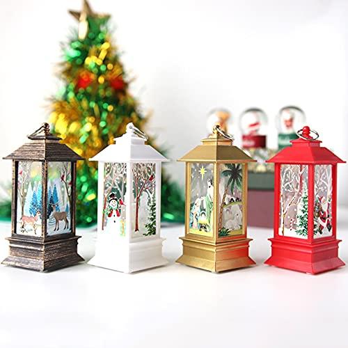 N / B Juego de 4 faroles portátiles de Navidad – 5.1 pulgadas decoración de Navidad de mesa Prop suministros de fiesta para exterior interior linterna decorativa