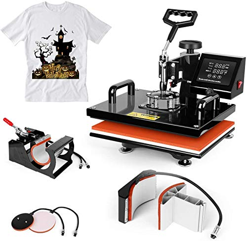 TUSY Heat Press Machine 12x15 Swing Away 5 in 1 Heat Transfer Machine for T-Shirt Hat Mug Plate