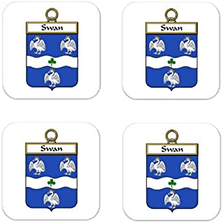Swan Family Crest Square Coasters Coat of Arms Coasters - Set of 4