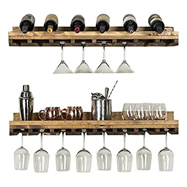 del Hutson Designs Rustic Luxe Tiered Glass Racks, Set of 2, Dark Walnut