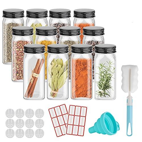 GEEDIAR Juego de tarros de especias – 12 tarros de especias de cristal rectangulares con tapa – 120 ml – Dispensador de especias con diferentes – accesorios, embudo, cepillo y etiquetas, 10,5 x 4,3 cm