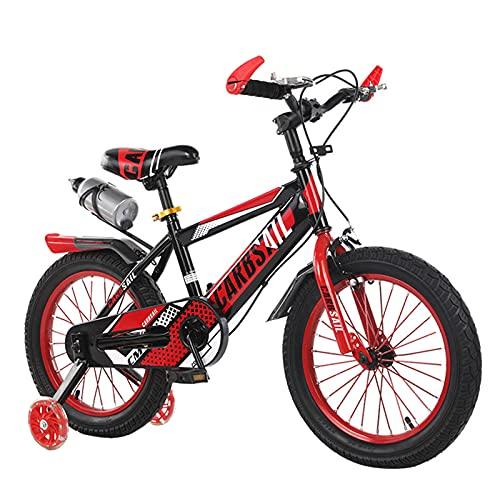 MIAOYO Bicicleta Segura para Niños,Bicicleta Infantil con Ruedas Auxiliares Flash,Bicicletas Al Aire Libre para El Bebé Chicos Chicas,Bicicleta De Carretera con Asiento Ajustable Portavas,Rojo,12'