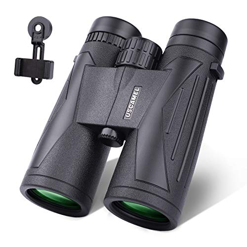 USCAMEL Prismáticos de 12 x 42 para adultos con adaptador de teléfono inteligente, prismáticos compactos para observación de aves, senderismo, viajes, caza, conciertos