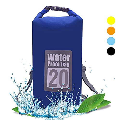QiYue Dry Bag Waterproof Backpack Large 20L Floating Blue Dry Pack Sack with Strap Roll Top for Kayaking Boating Canoeing Swimming Rafting Fishing Water Sports Outdoor