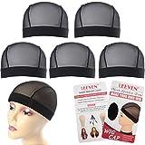 Leeven - 5 gorros de malla para pelucas para hacer pelucas de licra sólida, encaje con cúpula, ajuste cómodo, tamaño mediano (negro#)