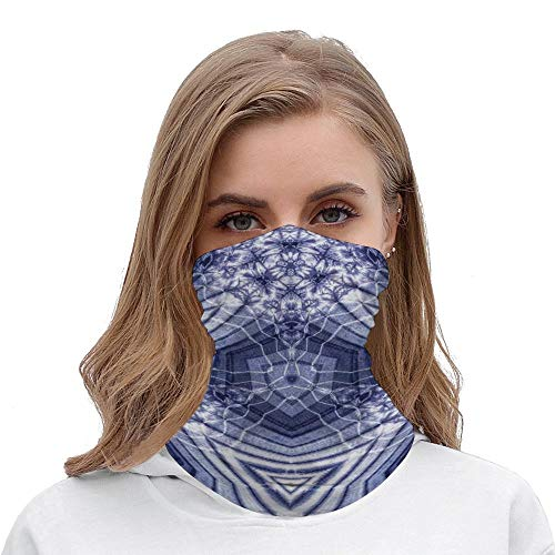 Seamless Face Mouth Cover Bandanas for Dust, Outdoors, Festivals, Sports- Tie Dye Decor Hallucinatory Surreal Morphing Concentric Geometric Figures with Fractal Patterns_Wbsdfken-190426311