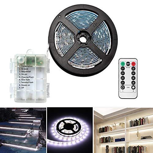 LED Streifen 3 Meter LED Stripes,Batteriebetrieben,90 LED Streifenlichter Lichterkette Lichtleiste für Zuhause Schlafzimmer Dekor- Schneidbar,Selbstklebend,Fernbedienung,Timer,8-Modus,dimmbar- Weiß