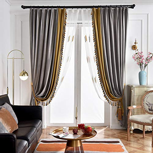 XMZFQ Luxury Blackout Curtain with Tassel, Private Custom Contrast Color Velvet Curtains for Living Room Bedroom Kichen and Dining Room,Gray + Gold,Punch Type