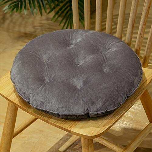 Nicole Knupfer 2er Set Sitzkissen, Stuhlkissen mit Bändern, Samt Kissen Sitzauflage Stuhlauflage für Indoor und Outdoor (Grau,Rund 40 cm)
